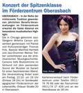 Blauer Kurier magazine announces jazz concert in Fürth, Oberasbach with Willetta Carson and Thomas Fink Trio
