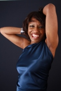 Photo portrait of jazz vocalist Willetta Carson from Chiago, who offers jazz art, theater and animation  to audiences and guests throughout Germany.