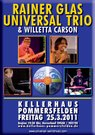 Flyer to announce the concert in Pommersfelden, Franconia, Germany, it shows photos of lead singer Willetta Carson and the jazz trio of Rainer Glas on bass, Bernhard Pichl on piano, Christoph Huber on drums.