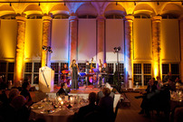 stage illumination during an evening in castle Schloss Seehof, jazz entertainment for conferences and conventions, VIPs in corporations and public service