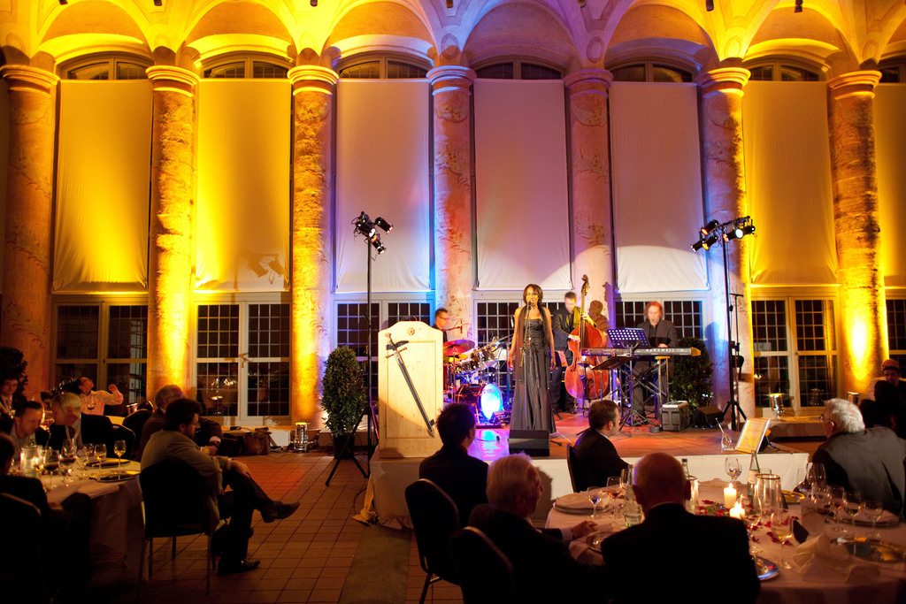 Jazz in the castle Schloss Seehof near Bamberg, Germany, several hundred guests of an international conference attended the evening program with exquisite catering and fine musical arts by Willetta Carson who delivered an all inclusive package with audio, light and show in the 300 square meter Orangery Hall, Sep 22, 2010