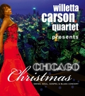 Advertisment poster announcing the Chicago Christmas Show at the renowned Comoedie theater in Fürth, which offers 480 seats to audiences from the Nürnberg, Fürth, Erlangen area; jazz singer and vocalist Willetta Carson is shown in front of a downtown Chicago skyline