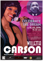 Advertisment poster announcing the Dr. Martin Luther King Memorial Show, an event for celebrating human rights achievements, inter-cultural tolerance and brotherhood; jazz singer and vocal artist Willetta Carson is shown with a microphone and an image of Dr. Martin Luther King Jr. in the background