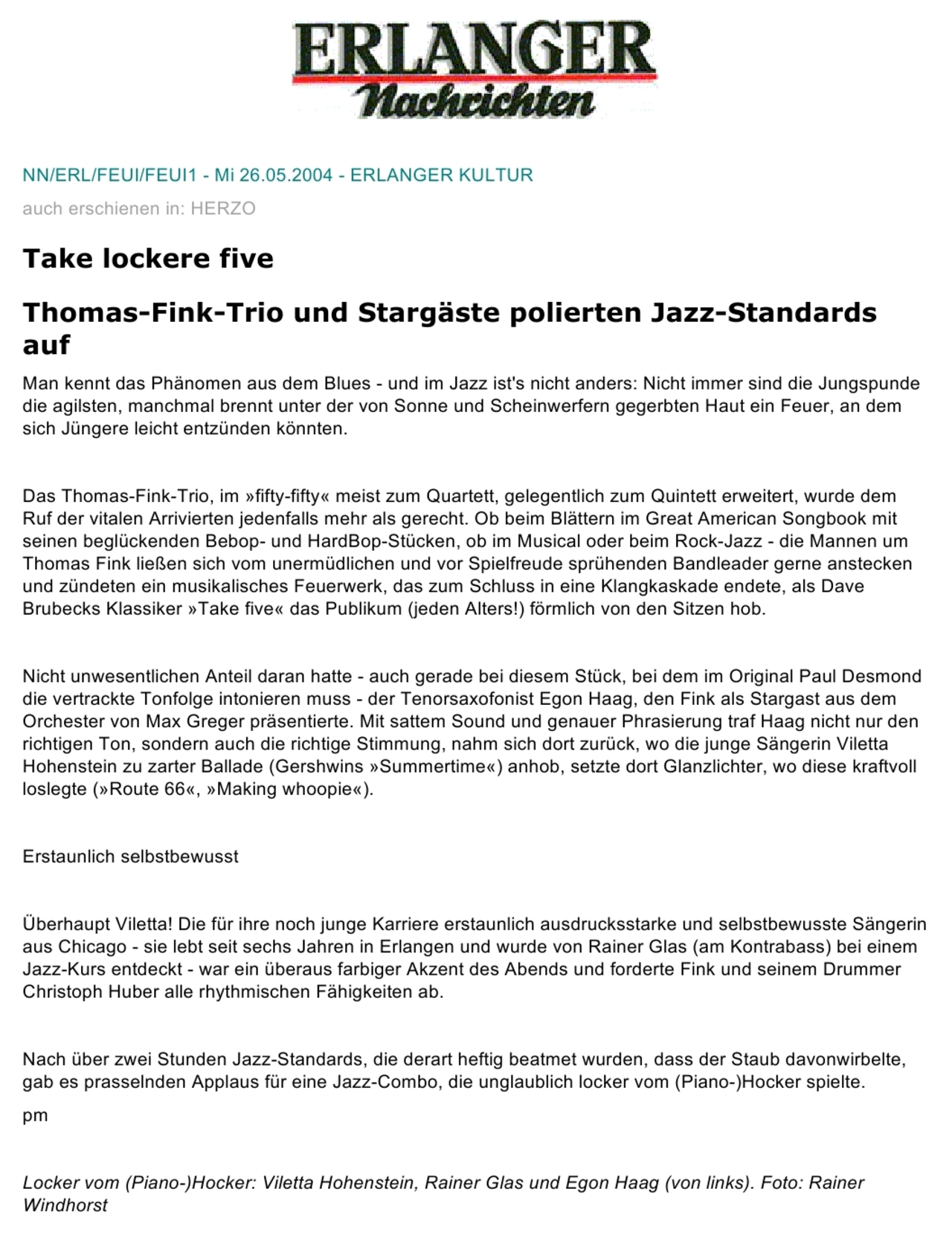 Erlanger Nachrichten newspaper reviews a jazz concert given by Thomas Fink, Rainer Glas and Egon Haag at the Fifty Fifty club in Erlangen in the year 2004