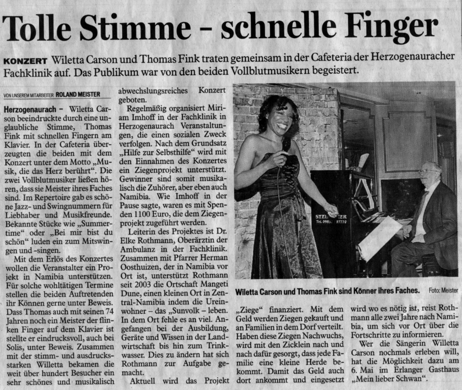 Fräkischer Tag newspaper reviews the jazz benefit concert Thomas Fink and Willetta gave at the Herzogenaurach Clinic in support of the Zonta club which supports humanitarian projects in Namibia, Africa