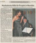 Erlangen-Höchstadt newspaper reviews the jazz benefit concert Thomas Fink and Willetta gave at the Herzogenaurach Clinic in support of the Zonta club which supports humanitarian projects in Namibia, Africa