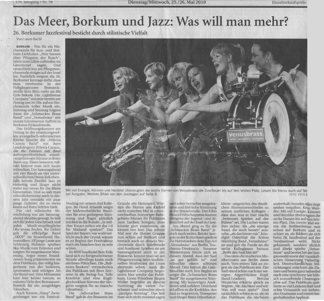 Borkum newspaper reviews the 26. Jazz Festival on the island of Borkum at the northern end of Germany, where Willetta and her band - vocals, bass, drums and keyboard - performed the opening ceremony