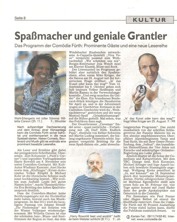 Nürnberger Nachrichten newspaper gives a preview of the upcoming concerts and shows in the Comoedie theater in Fürth, where jazz singer Willetta Carson and her quartet were introducing the Chicago Christmas Show
