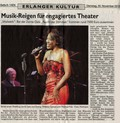 press article reporting the Night of the Voices benefit gala of the Zonta club in the Erlangen Markgrafentheater on Nov 30, 2010, where jazz artist Willetta Carson performed with Thomas Fink on piano