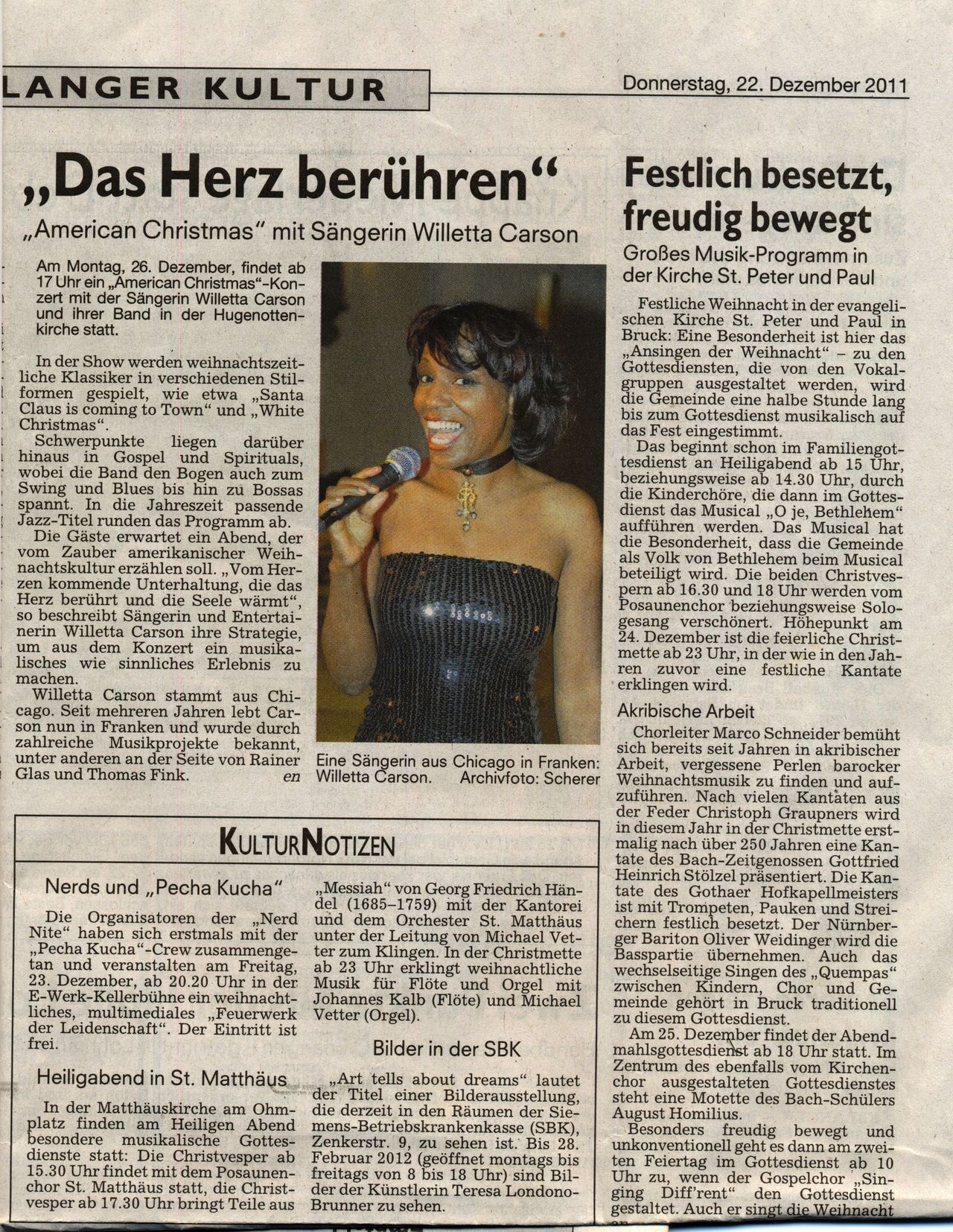 Preview of the American Christmas Concert in Erlangen, Franconia on Dec 26, 2011; press article, Erlanger Nachrichten